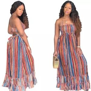 Deep V Printed Maxi Dress